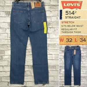 NWT Levis 514 Men's 32 x 34 Straight Regular Jeans